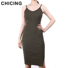CHICING Sexy Backless Solid Knit Side Slits Midi Dress Women 2017 High Street Basic Bodycon Lady Halter Dress Vestido A1704029
