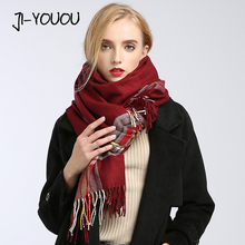 winter ladies scarves women high fashion 2017 plaid scarf poncho capes crinkle hijab warm cotton long women's knit wool scarf(China)
