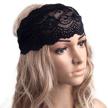 2017 Fashion Women Lady Lace Wide Elastic Headband Bandanas Head Wraps Sports Hairband Hair Band Summer Tiara Hair Accessories