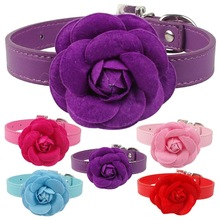 PU Leather Dog Pet Collars Cute Necklace With Flower For Small Dogs Puppy Pink Red Purple Blue Rose Neck For 8-18""