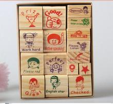 English Teacher Homework Encourage Reviews Clear Stamp,Children Cartoon Wood Stamp Toy Best For scrapbooking With 5 Inkpad