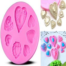 Heart Shape Brooch Diamond Silicone Mold Cake Chocolate Fondant Baking Mould