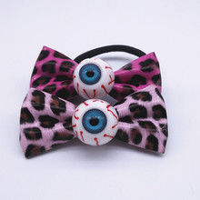 Creepy Blue Eyeball Leopard Hair Bow Japanese Harajuku Hair Accessories Big Eyeball Hair Bands Festival Halloween Costume HJ120