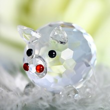 Clear 40mm Pig Glass Crystal Figurines Paperweight Crafts Art&Collection Souvenir Birthday Christmas Wedding Gifts Decoration(China)