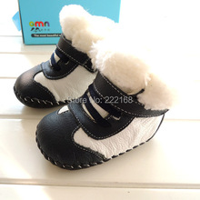 OMN 2017 Winter Genuine Leather Baby Snow Boots Indoor Boys Girls Infant Toddler Shoes Soft Babies Footwears First Walkers(China)
