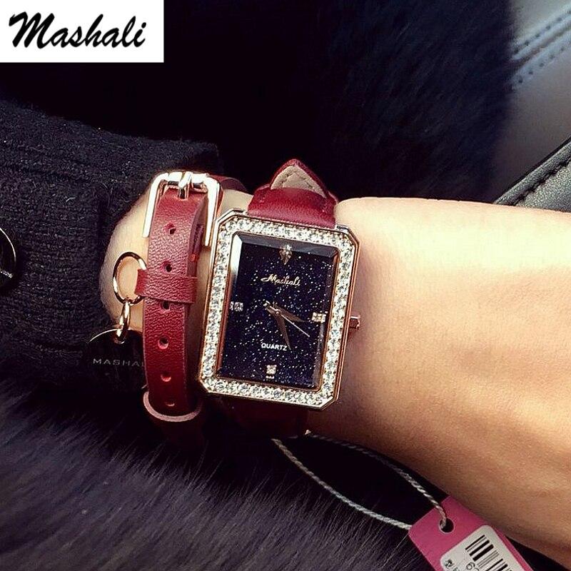 Mashali Brand  Fashion Square Quartz Watches Women Luxury Rhinestone Case Watch Female Clock Diamond Wristwatch Relojes Mujer<br>