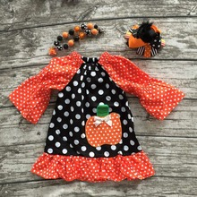 2016 baby girls Halloween dress girls pumpkin dress party dress children polka dot ruffle dress with neckalce and headband
