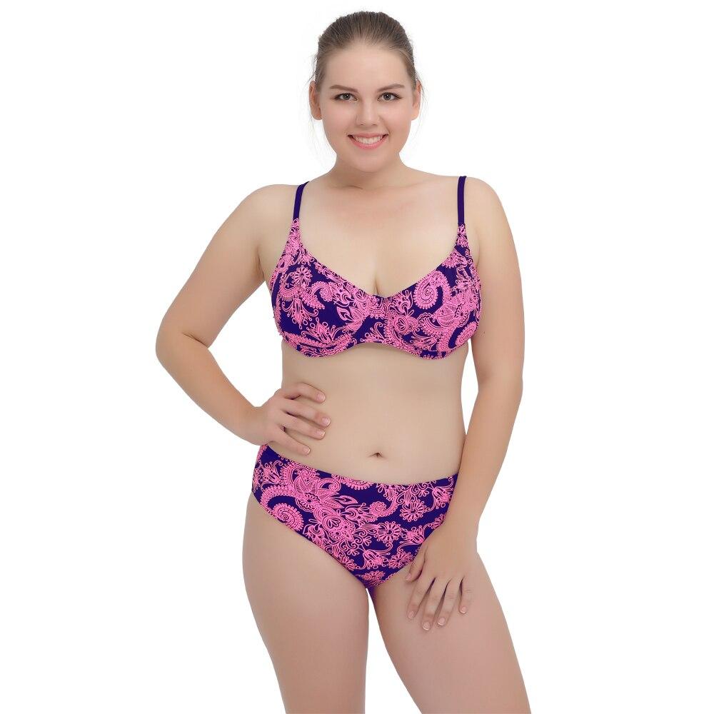 2017 New L-3XL Plus Size Swimwear Large Size Sexy with a Mid Waist Underwire Bathing Suits Bikini Set wimwear For Big Girl<br><br>Aliexpress