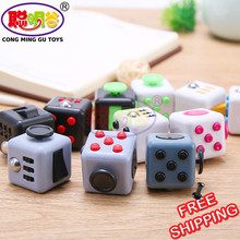 CongMingGu Fidget Cube 13 Colours Desk Finger Toy Keychain Squeeze Fun Stress Reliever Magic Cube Gift AntiStress With Box
