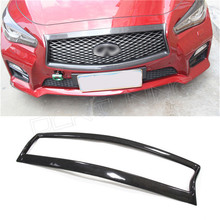 Q50 Car-styling  For Infiniti Q50 Q50S Carbon Fiber Front Grille Trim Cover 2014 2015 2016 - UP