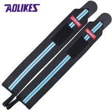AOLIKES 2 Pcs Powerlifting Weight Lifting Wristbands Gym Wrist Support Wraps Straps Sport Safety Fitness Training hand bands(China)