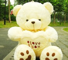 45cm 2 Color white Teddy Bear  Lovers Big bear Arms Stuffed Animals Toys Plush Doll ' I LOVE YOU ' bear Valentines Cute Gift
