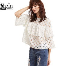 SheIn Womens Tops and Blouses Womens Clothes White Hollow Out Three Quarter Length Sleeve Layered Ruffle Lace Top