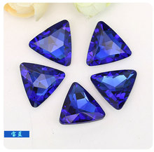 Factory direct sales!sapphire blue trianglar Pointed bottom crystal rhinestones DIY dress and wtach jewelry accessories 20pcs(China)