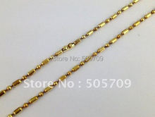 "10PCS Gold Color plate oval/ball bead chain necklaces 24"" #20797(China)"