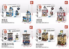 SEMBO Blocks Mini Store DIY Building Bricks Micro street Shop 3D Auction Model with Lighting Kids toys Girls Gift SD6500-SD6507