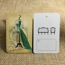 250pcs/lot Beatiful Peacock Vintage Hang Tags for Clothing Custom Printed Tag Garment Tags Swing Price Tags Labels Packaging