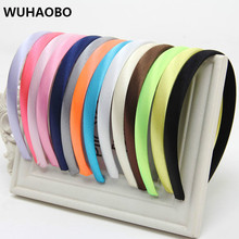 5 Pcs/Lot Girls Hair Clasp For Women Colored Satin Covered Resin Hairbands Ribbon Covered HeadBand 2cm Head Hoop Hair Accessory