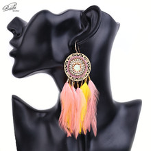 Badu Real Feather Earrings for Women Colorful Feathers Ethnic Vintage Stainless Steel Earring Jewelry Indian Style Mother Gift