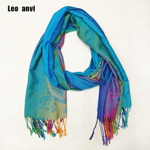 Leo anvi long cotton paisley Floral rainbow Scarf Pashmina foulard luxury Scarf women hijab Tassel Shawl Wrap sjaal(China)