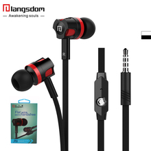 Original Langsdom Microphone headphone bass stereo earphone for iPhone Android MP3/4 Flat wired control music earphone