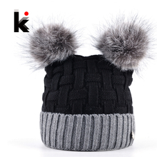Winter Womens Beanie Hat With Two PomPom Knitting Wool Skullies Cap Female Imitation Fur Ball Knitted Beanies Bonnet Girls Touca(China)