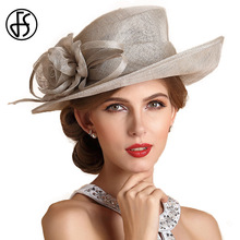 FS Light Gray Red Beige Summer Wide Brim Linen Church Fedora Hats For Women Fashion Flower Ladies Formal Hat Derby Fedoras Femme