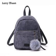 Girl Backpack Small Mini Backpack Small Women Shoulder Bag Fur Ball Solid Color Corduroy Back Pack winter Velvet Schoolbag ZD556