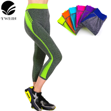 YWBIN Brand Women Capri pants Candy Solid yoga Leggings yoga pants Gym High Waist Running sport leggings Strech Fitness Clothing