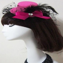 1 pcs Fashion Lady Mini Feather Rose Top Hat Cap Lace Fascinator Hair Clip Costume Accessory pinches para el pelo ninas