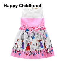 2016 Summer Pink Girl Dress with belt 2pc girls clothes 2-6Y kids dresses for girls little girls dresses vetement fille
