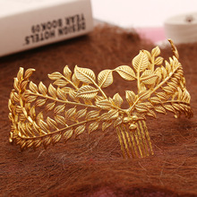 New design bridal hair jewelry vintage hair comb gold leaves crown leaf wedding accessories wholesale women headpiece(China)