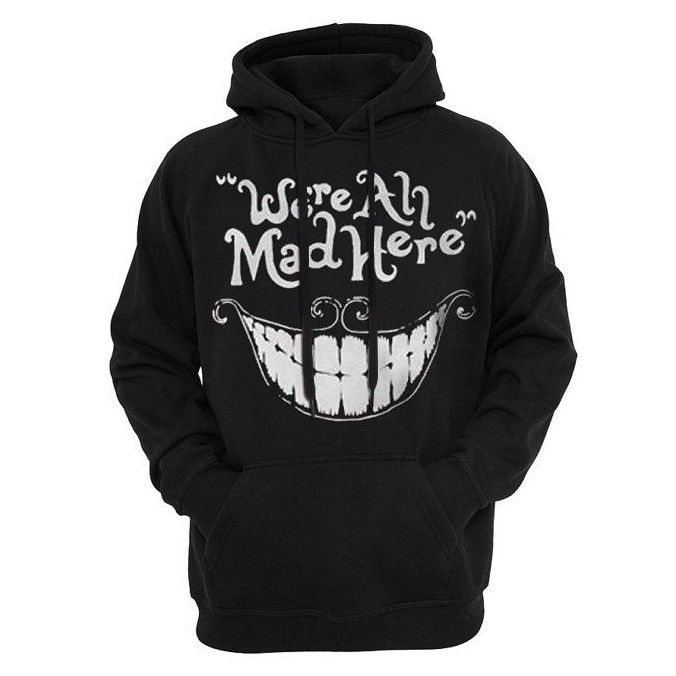 Women's Bright Smile Hoodies Autumn New Black We Are All Mad Here Letter Pullovers Sweatshirt Blusas Fashion Plus Size 3XL