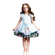BRWCF 2-8 Years Girls Summer Dresses Snow White prints Princess Dress  For Party and Wedding 2017 kid dress for girl