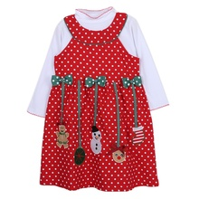 2017 Girls Christmas New Year Dress Kid Long Sleeve Santa Claus Dot Print Dress Children's 2pcs Clothing Sets(China)