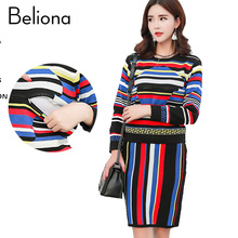 Brand Design Colorful Stripe Nursing Clothes Knitting Maternity Sweater Sweaters Dress Breastfeeding Tops Clothing for Feeding(China)