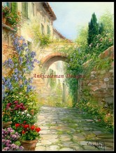 Needlework for embroidery DIY French DMC High Quality - Counted Cross Stitch Kits 14 ct Oil painting - Tuscan Alley with Flowers