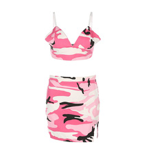Women Sexy 2 Piece Set Red Camouflage Sleeveless Backless Crop top +Mini Skirt Fashion Girl Two Piece Club Sets