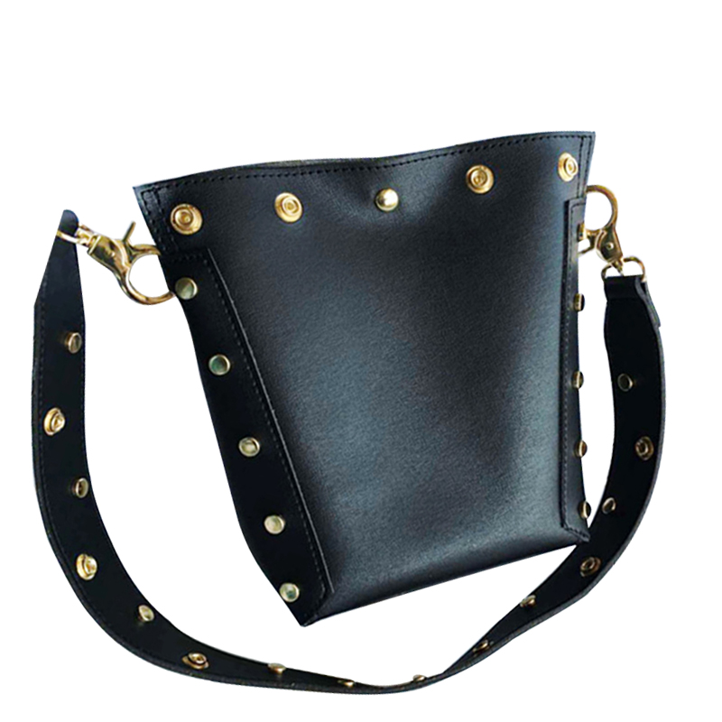 Fashion Rivet Leather Women's Shoulder Handbags Totes Bags Rivet Strap Punk Style Lady Messenger Shopping Beach Bags BA005(China)