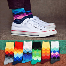 New hot-sell men's socks famous brand 6 pairs/lot autumn-winter Cotton classic Male and man socks Colorful lattice sock(China)