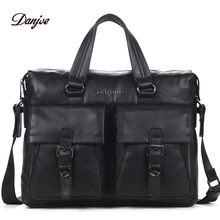 DANJUE Men Business Briefcase Genuine Leather Big Capacity Men Handbag Fashion Men Bags Double Bag Messenger Bag Male