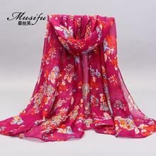 2017 Real Limited Women 2017designer Women's Printe Flowers Cotton Scarf Muffler Popular Wrap Hijab Muslim Voile Scarves/scarf(China)