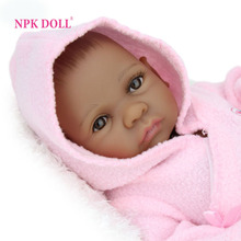 NPKDOLL 10 inch 25 cm Mini Baby Reborn African American Baby Doll Black Girl Full Silicone Body Reborn Baby Dolls For Girls(China)