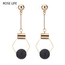 ROSE LIFE Women's Fashion Korean version of the daily wild polygonal earrings ball multi - color simple earrings