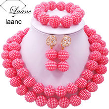 Laanc Fashion Coral Pink Jewelry Sets Nigerian Beaded Simulated Pearl Necklace Costume African Wedding Beads Jewelry Set 2RZD006