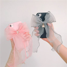 New Hot Nice Luxury Fashion Jewelry Pink Silk Bow Tassel Soft Slim TPU Cover For iPhone 6 s 7 plus Stylish Cute Phone Case Girls