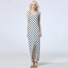 Buy Womens Dress Bodycon Black White Striped Dress Sleeveless Casual 2017 Summer Ladies Female Sexy Slim Fit Dresses Women Clothing for $14.94 in AliExpress store