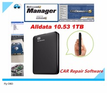 2017 Newest Car Repair Alldata Software V10.53+mitchell on demand 5 software 2015 usb hard disk all data DHL free shipping(China)