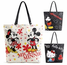 New Fashion Mickey Minnie Hello Kitty Cartoon Girls Woman Polyster Waterproof Shoulder Bags Handbags Shopping Bag For Children