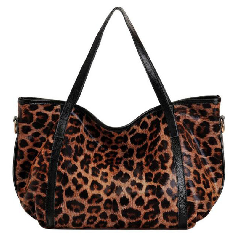 2016 New 100% Genuine Leather Woman Handbag Casual Style Sexy Leopard Real Soft Cowhide Handbags for Women Shoulder Bags LY101<br><br>Aliexpress
